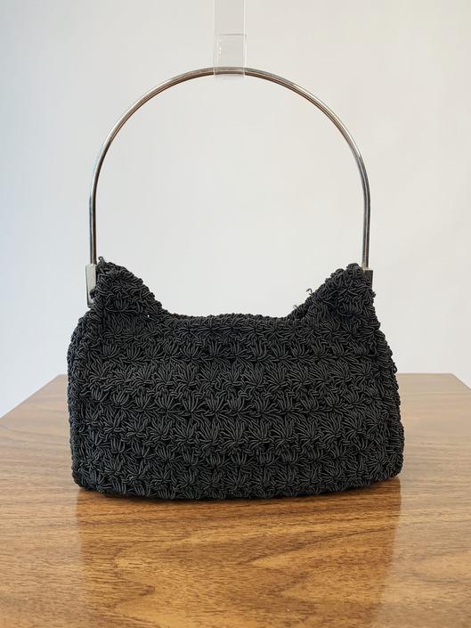 Y2K Black Crochet Mini Purse w/ Metal Handle