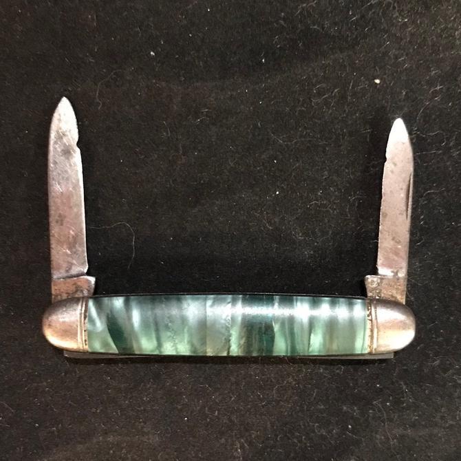 Hammer Brand Green Celluloid Pocket Knife Pen Knife Jack Knife Vintage by accokeekpickers
