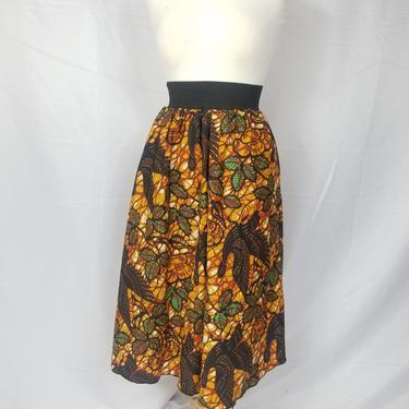 Ankara silk tea-length skirt with invisible pockets (Brown/Green/Black) by GLAMMfashions