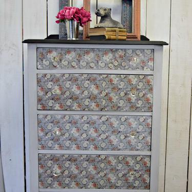 Dresser Painted Gray with Floral Decoupage | Chest of Drawers | Gray Dresser | Secretary Desk | Secretary Dresser | Bureau by AllThingsNewAgainVA