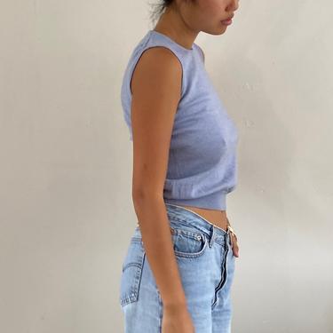 90s merino sleeveless sweater vest / vintage ocean blue pure merino wool cropped sleeveless crewneck sweater tank top vest | XS S by RecapVintageStudio