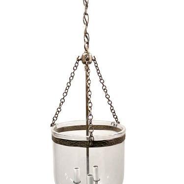 19th Century English 9.75 in. Clear Bell Jar Pendant Lantern