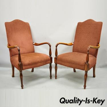 Sheraton Style Red Upholstered High Back Fireside Lounge Arm Chairs - a Pair