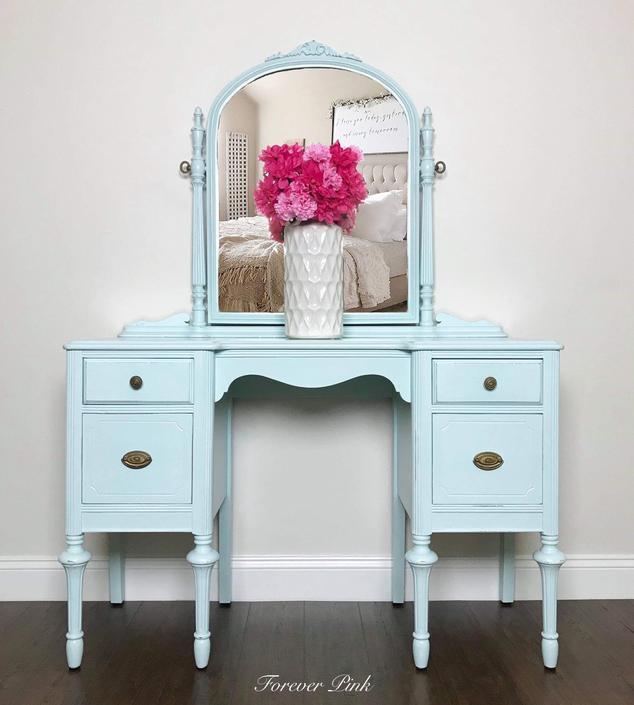 Vintage Four Drawer Vanity with Mirror - Vintage Dressing Table - Vintage Blue Vanity - Vintage Dresser with Mirror by ForeverPinkVintage