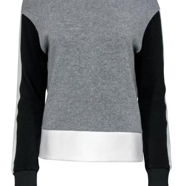 Sandro - Grey, Black & White Colorblocked Crewneck Sweater Sz 2