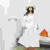 Cassatt Dress, Linen Cotton Blend in White
