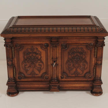 Carved Walnut Two Door Diminutive Chest