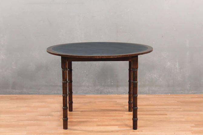 Dark Walnut & Vinyl Faux-Bamboo Dining Table