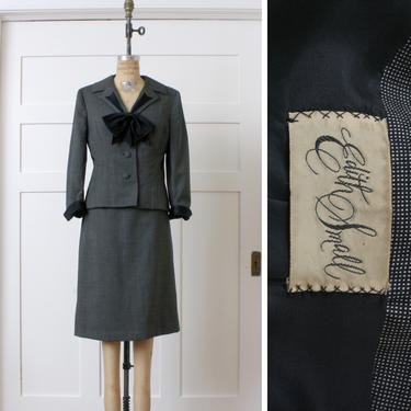 women vintage 1950s suit • black & white checked wool gabardine 2 pc jacket skirt set • Edith Small bow collar suit by LivingThreadsVintage