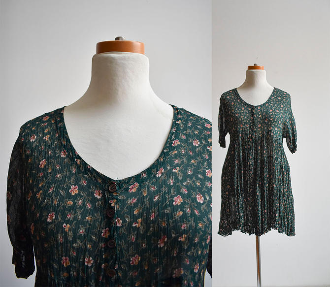 1990s Green Floral Babydoll Dress by milkandice