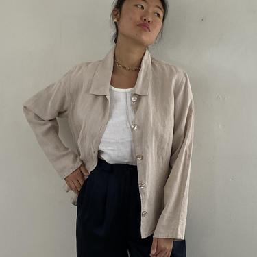 90s woven hemp shirt / vintage beige oatmeal hemp linen relaxed peplum over shirt jacket blouse resort wear | L by RecapVintageStudio