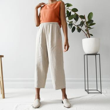 vintage FLAX linen easy pants, oatmeal beige, size M / L by ImprovGoods
