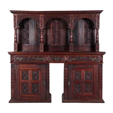 Amazing Antique Server, Sideboard, Continental Carved Oak, 19th C., 1800s!!