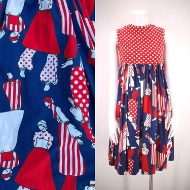 70s novelty LADY print dress XS  / vintage 1970s red white & blue figural motif BABY doll dolly dress petite 0 by ritualvintage