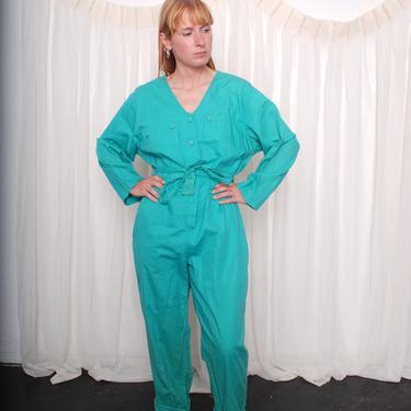 Vintage 1980s Cotton Teal Jumpsuit (Med/Large) by 40KorLess