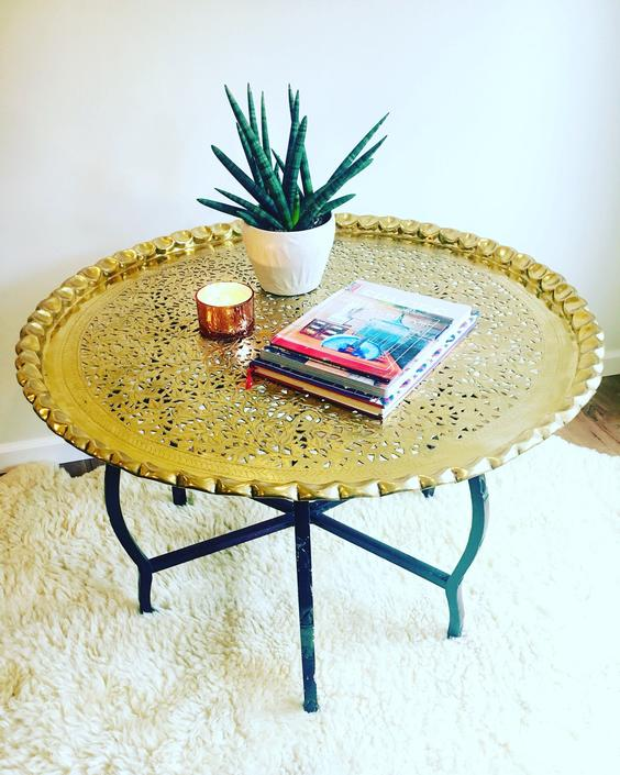 Vintage Mid-Century Round Brass Coffee Table with Folding Spider Style Wood Legs - Scalloped Brass Tray by PortlandRevibe