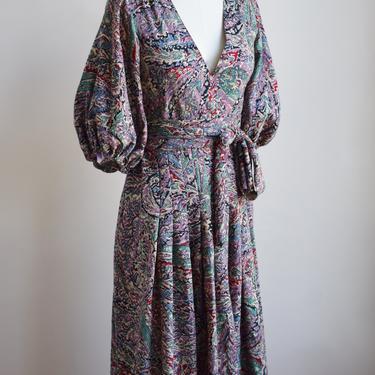 1970s Balloon Sleeve Wrap Dress by Albert Nipon | Vintage 70s/80s Paisley Print Dress with Tie Belt | XS by wemcgee