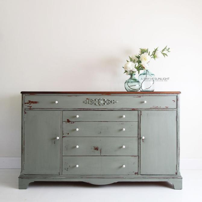 Sage Green Vintage Sideboard - Farmhouse Decor - Entry Table - TV Stand - Refinished Buffet - Painted Furniture - Shabby Chic Buffet Table by ARayofSunlight