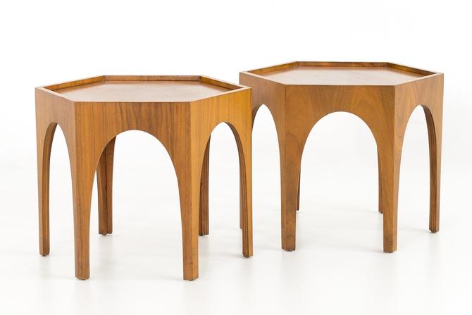 Brutalist Mid Century Walnut Side End Tables - Matching Pair by ModernHill