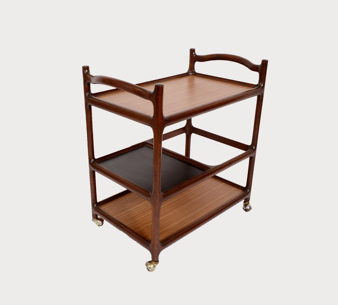 Rosewood Bar Cart Rolling tea cart  butlers tray danish modern 60s by HearthsideHome