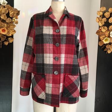 1940s style jacket, Pendleton jacket, 49er style shirt, size large, vintage wool jacket, 38 bust, gray and red plaid, rockabilly by melsvanity