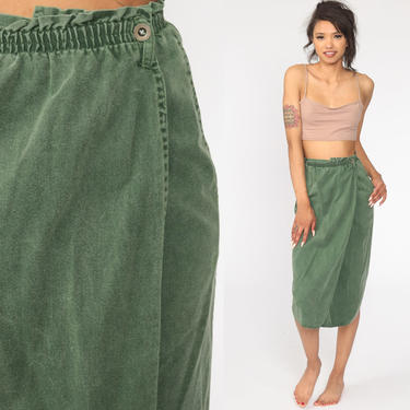 90s Midi Skirt Army Green Wrap Skirt Pencil Skirt 1990s Vintage High Waisted Hipster Wiggle Plain Commando Small xs s by ShopExile