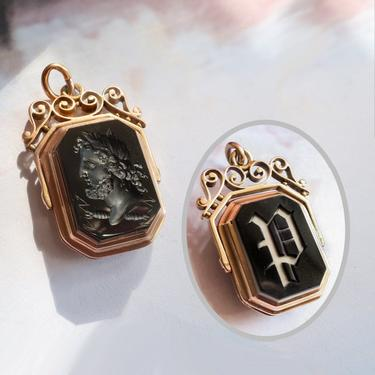 """Antique Victorian Reversible Onyx Initial """"P"""" And Carnelian Intaglio Classical Man Profile Locket Pendant 14k by YourJewelryFinder"""
