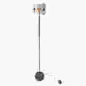 Custom Brass and Black & White Metal Mid Century Style Floor Lamp
