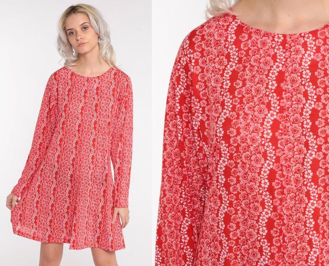 Floral Shift Dress 70s Red Floral Print Hippie Mod Mini Dress Vintage 1970s Gogo Twiggy Dress Minidress Long Sleeve Small Medium by ShopExile