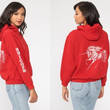Unicorn Hoodie Sweatshirt 80s Red Hooded Sweatshirt Hood 1980s Sweater Vintage Gym Sportswear Streetwear Sweatshirt Medium by ShopExile