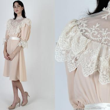 Vintage 80s Floral Embroidered Lace Dress Sheer Pale Blush Romantic Garden Lawn Mini Dress by americanarchive