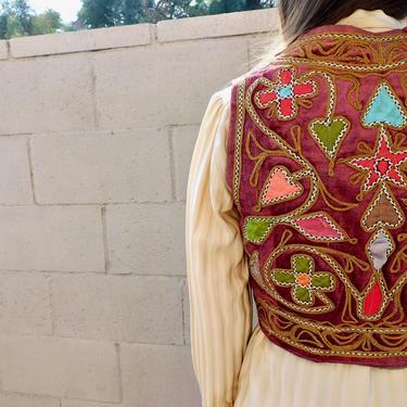 Indian Velvet Vest // vintage 60s 70s blouse embroidered boho hippie gold cropped festival dress afghan jacket hippy // S Small by FenixVintage