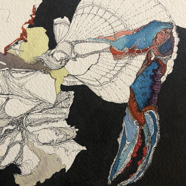 Vintage Original Abstract Artwork, pen and ink with watercolor on paper, signed by Kimberly McCormack, 1975 by MadCoolNYC