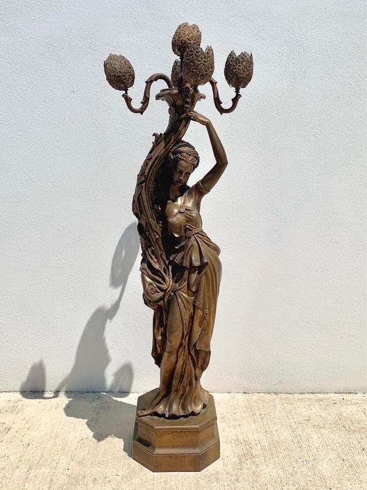 1970s Art Nouveau Maiden Lamp