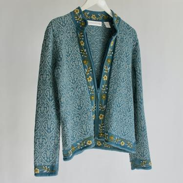Cornflower Blue Cardigan with Embroidered Trim Spring Sweater fits S - M by BeggarsBanquet