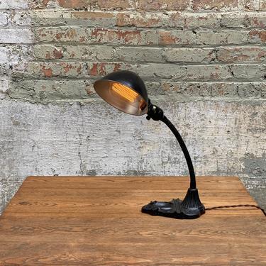 Industrial Art Deco Cast Iron Gooseneck Desk Lamp Vintage Light by NorthGroveAntiques
