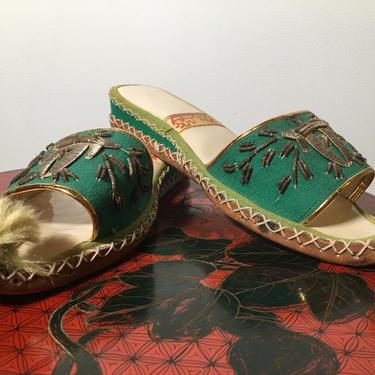 Vintage 50s sandals, 1950s ethnic slippers, Turkish sandals, embroidered slides, Pom Pom slippers, 1940s souvenir shoes by melsvanity