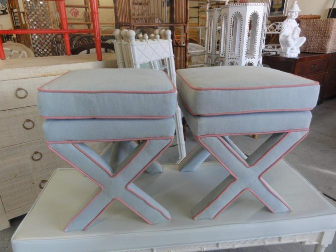 Pair of Upholstered X Benches