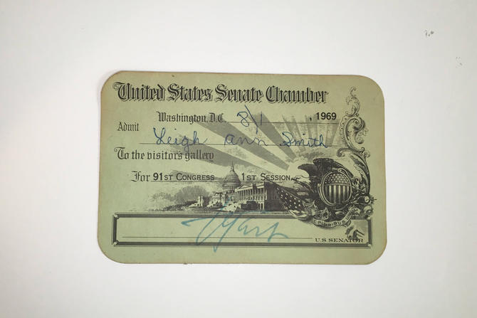 Antique Paper Ephemera Vintage Collectible United States Senate Chamber Visitor Pass 1969 91st Congress 1st Session Washington DC Politics by CheckEngineVintage