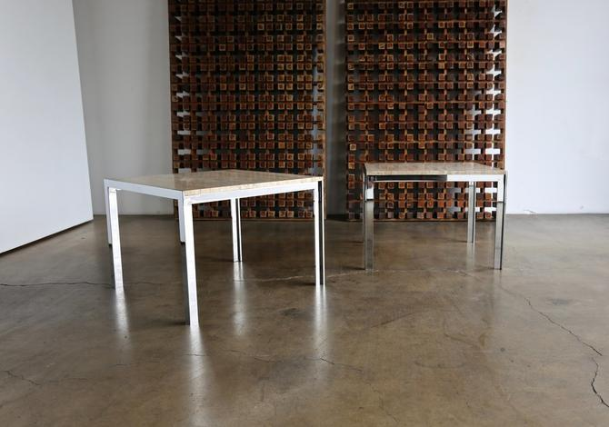 Large Scale Chrome & Travertine Side Tables by Pace Collection circa 1965
