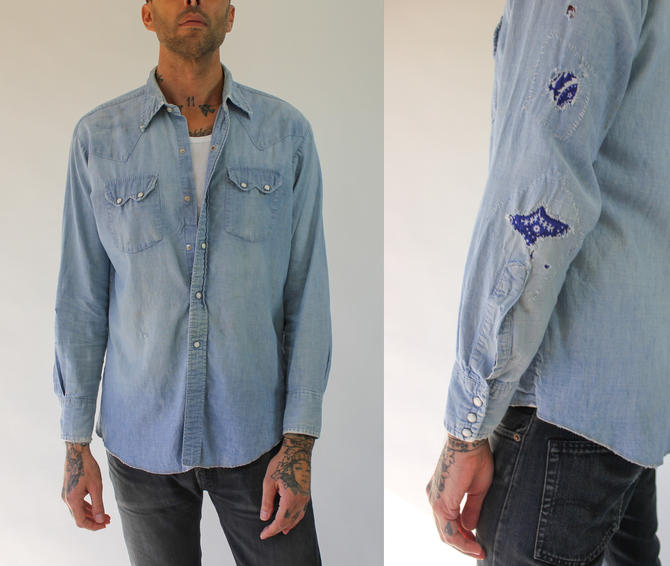Vintage 60s 70s Perfectly Destroyed Denim Chambray Pearl Snap Shirt | Medium Light Wash, Bandana Patch | 1960s 1970s Distressed Denim Shirt by TheVault1969