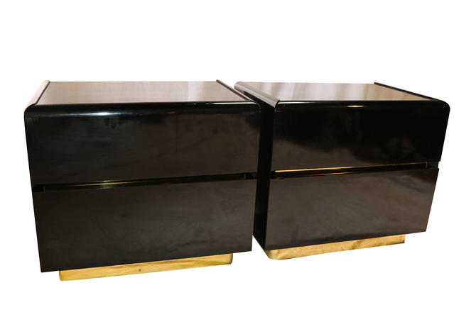 Mid Century Lane lacquer Nightstands Side Tables Pair by Marykaysfurniture