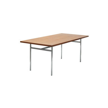 Vintage midcentury modern steel and walnut dining table designed by Florence Knoll for Knoll Associates by PeachModern