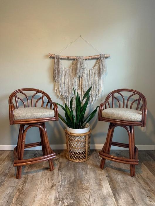Set of 2 Vintage Rattan Swivel Barstools by DesertCactusVintage