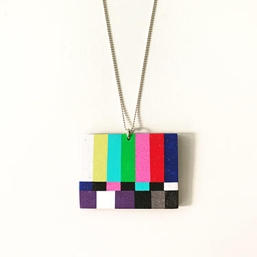 TV pendant - handmade with polymer clay on a sterling silver ball chain by ChrisBergmanHandmade