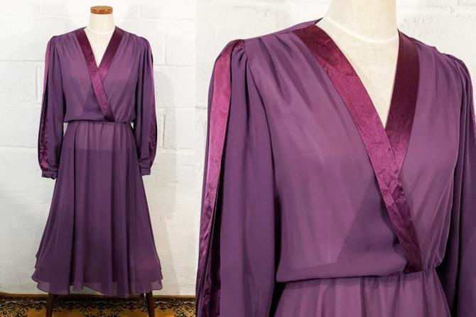 Vintage Purple Dress Ursula Switzerland 70s 1970s Maxi Full Formal Long Sleeve Blousy Peasant Sleeves Party Cocktail Large XL by CheckEngineVintage