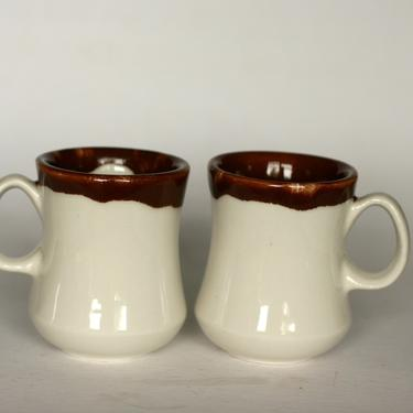 vintage walker china white restaurant ware coffee mugs with brown drip glaze/set of two by suesuegonzalas