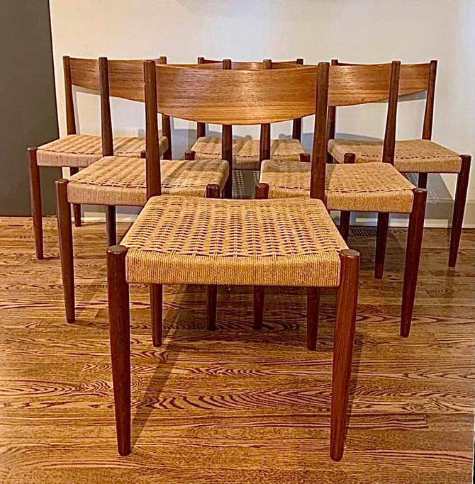 Free Shipping Within US - Danish Mid Century Modern Poul Volther for Frem Rojle Dining Chairs with Paper Cord- A Set of 6, Denmark by BigWhaleConsignment