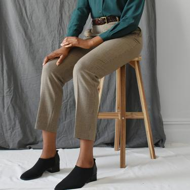 vintage wool check print trousers / 90s high waisted tapered pants / M by ImprovGoods