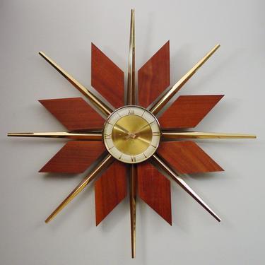 Vintage Mid20C Teak Starburst Wall Clock